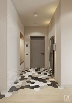 I how these floors creatively transition into another material. I can't wait to try this trend. Apartment Entrance, House Entrance, Entryway Bench Storage, Entryway Decor, Flur Design, Hallway Designs, Entry Way Design, Hallway Decorating, Home Decor Inspiration