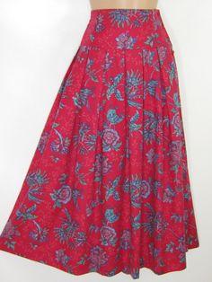 7b5beb0427 LAURA ASHLEY Vintage Carmine Tudor Flower Brushed Cotton High-Waist Skirt,  UK 10/12
