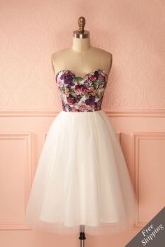 Alessandria Garden - White tulle bustier dress with floral print  www.1861.ca