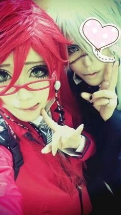 Shibuki as Grell Sutcliff and Sakuya as Undertaker. Kuroshitsuji cosplay ♥ Taken from Shibuki's Facebook