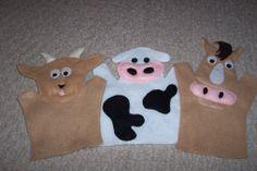 Goat, cow, horse felt hand puppets