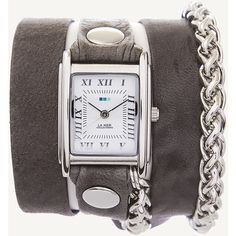 La Mer Collections Grey Washed Silver Motor Wrap Watch (375521601) (€71) ❤ liked on Polyvore featuring jewelry, watches, grey, silver chain jewelry, silver jewellery, grey watches, handcrafted jewelry and square silver watches
