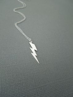 lightning bolt pendant, sterling silver simple jewelry, edgy, modern, everyday