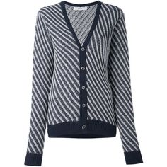 Julien David striped cardigan ($412) ❤ liked on Polyvore featuring tops, cardigans, blue, wool cardigan, wool tops, blue striped top, striped top and stripe top