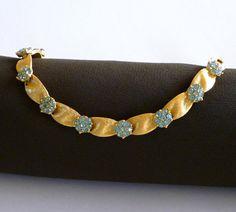 Crown Trifari Bracelet Aquamarine Blue by MaisonChantalMichael