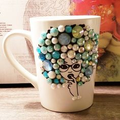 Your place to buy and sell all things handmade Glass Bottle Crafts, Diy Bottle, Bottle Art, Diy Mug Designs, Painted Coffee Mugs, Scrapbook Cover, Biscuit, I Love Diy, Funny Coffee Cups