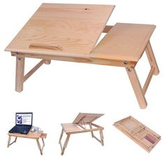 Foldable Tilting Wood Laptop Table Stand Read Car Bed Book Tray Notebook Desk