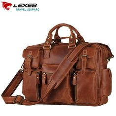 "122.64$  Watch here - http://aliks9.worldwells.pw/go.php?t=32728279908 - ""Cartable Vintage LEXEB Crazy Horse Leather Briefcase Men's Laptop Bags 15.6"""" Shoulder Bag With Multi Pockets High Quality Brown"""