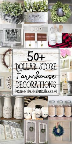 50 DIY Dollar Store Farmhouse Decorations #diy #dollartree #homedecor #diydecor #farmhouse #farmhousedecor #DIYcrafts