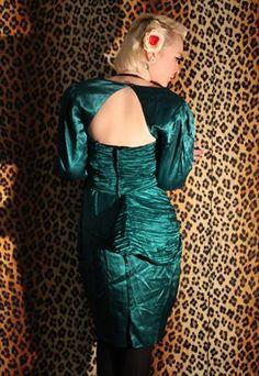 80's Vintage satin gather mad men evening Green Dress from Pretty Disturbia £17.50