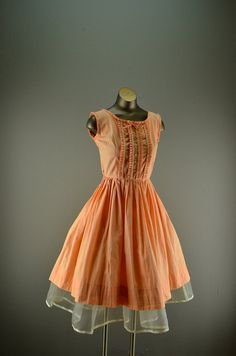 1950s cotton sundress 50s summer dress size small vintage day dress peach ruffled full skirt