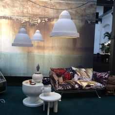 #SummerThemes on the #Moooi Sofa, surrounded in calming whites which I immediately see (not in color pattern, but) in their shapes as a reference to Marokko.. - Milano Design Week 2014 #K*