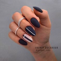 Matte Black Nails With Negative Space Accent ❤ 35 Trendy Manicure Ideas In Fall Nail Colors 2019 Inspired ❤ See more ide Matte Acrylic Nails, Matte Black Nails, Acrylic Nail Designs, Nail Art Designs, Gel Nails, Black Manicure, Gradient Nails, Stiletto Nails, Stylish Nails