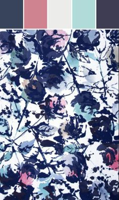 Inky indigo watercolor floral print.