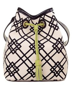 Look at this Seven Oaks Milly Linen & Leather Bucket Bag on #zulily today!