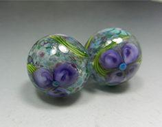 HANDMADE LAMPWORK BEADS Earrings Pair Donna Millard sra Spring Fresia pink green lily flower earring