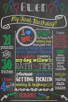 Balloon First Birthday Chalkboard Poster by PersonalizedChalk, $30.00