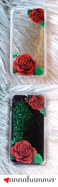 Roses And Glitter. Rich Gold or Emerald Green. Design by anna hammer
