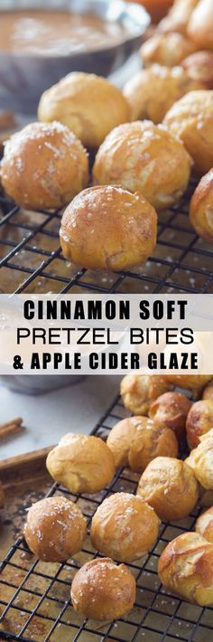 Homemade and easy Cinnamon Soft Pretzel Bites get a fall makeover! Loaded with cinnamon and coated in a light apple cider glaze! #MeatlessMondayNight #ad
