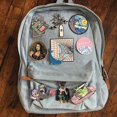 FRIDAY SALE- Tumble Grunge - Aesthetic backapck iron on patches Broche de bordado de mano de noche estrellada de Vincent Van Mochila Kanken, Mochila Kpop, Mochila Jeans, Mini Mochila, Aesthetic Bags, Aesthetic Backpack, Aesthetic Grunge, Aesthetic Clothes, Aesthetic Vintage