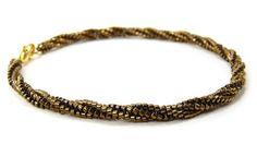 Bronze Bracelet Thin Twisted Brown Gold Beaded by BeadedSeasons