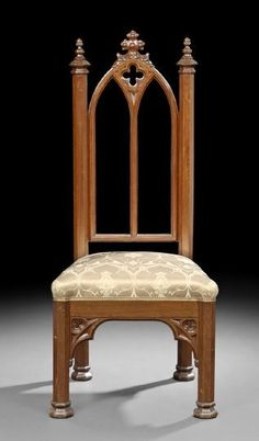 "American Gothic Revival Walnut Side Chair. Sold For $2,800. American Gothic Revival Walnut Side Chair, mid-19th century, the hexagonal stiles capped by acorn finials, the arched back segmented into pair of arches beneath a quatrefoil-carved crest, the octagonal legs joined to the apron with trefoil and acorn brackets, h. 47-1/2"". The resent chair was reportedly designed for Belmead, Powhattan County, Virginia, many of the contents of which were designed by the architect Alexander Jackson…"