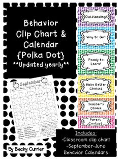 **Updated yearly**Here is a super cute behavior clip chart.  It's easy to print and set up in your classroom!  Included is a 2016-2017 behavior calendar.  It's a great way to help parents stay in the loop on how their child is behaving in class!Check out the preview for how the clip chart would look altogether!Enjoy!