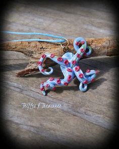 Blue Escaping Tentacles Polymer Clay Necklace by TNTPatterns on Etsy