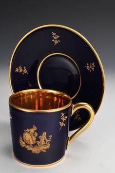 Limoges La Seynie Cobalt Blue And Gold Gild Demitasse Cup And Saucer
