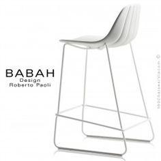 Tabouret de cuisine design BABAH 65, pieds acier blanc luge, assise coque plastique blanc, dossier fantaisie coquillage