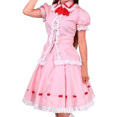 Women's Lolita Blouse and Ruffles Sweet Skirt School Uniform (375 CNY) via Polyvore featuring tops, blouses, ruffle blouse, ruffle top, frill top, pink top and frilly blouse