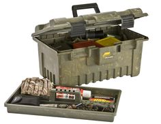 Plano Lg storage case w/tray. Holds 2 mojo vodo, 8 mojo clip on doves, 2 sets of wings, 2 stake poles, battery's, and a couple box's of 12 ga shells easily.
