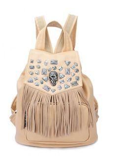 Beige Fashion Backpacks Bag With Rivet