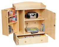 Guidecraft A/V Storage Unit. Great for small spaces! #storageforkids #kidsfurniture