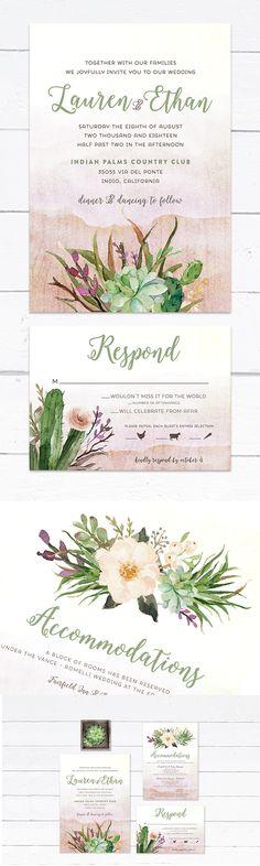 Desert Wedding Invitation, Cactus Wedding Invitation, Succulent Wedding Invitation