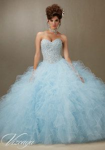 Quinceanera Dress Blue Pearl Beaded Bodice On A Ruffled Tulle Ball Gown