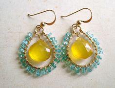 Yellow Aqua Gemstone Earrings, Apatite Butterscotch Chalcedony Gold Filled Wire Wrapped Teardrop Earrings. $36.00, via Etsy.
