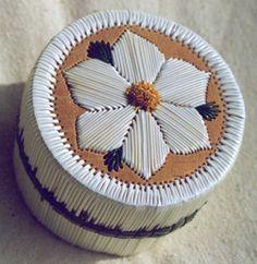 Birch bark & porcupine quill box by Sharon John
