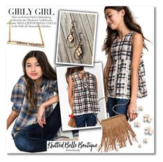 Girly girl by knittedbelleboutique on Polyvore featuring polyvore fashion style Hayden Patchington women's clothing women's fashion women female woman misses juniors plaid shirt earrings kids knittedbelle