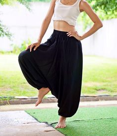 Black Harem Pants Thai Pants, Rayon Pants, Boho Strenchy Pants, Elastic Waist Clothing Beach Women Baggy Casual Unisex BK00719 by MaeYing on Etsy https://www.etsy.com/listing/247544300/black-harem-pants-thai-pants-rayon-pants