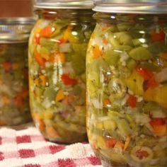 "Hot Italian Giardiniera | ""Wow is this stuff good! This is some of the best Giardiniera I have EVER had!"" #worldcuisine #internationalrecipes #globalrecipes #regionalrecipes #peppers #giariniera"
