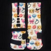 Girlie Emoji Custom Nike Elite socks · Sock Insanity · Online Store Powered by. Discount Nike Shoes, Nike Shoes Cheap, Nike Free Shoes, Cheap Nike, Basketball Shorts Girls, Basketball Socks, Softball Socks, Basketball Stuff, Volleyball