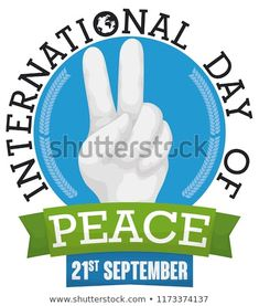 Commemorative round button with white glove doing the peace gesture and ribbon to celebrate International Peace Day in September International Day Of Peace, Round Button, September 21, White Gloves, Royalty Free Stock Photos, Ribbon, Buttons, Ads, Pictures