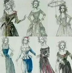Mrs Lovett sketches from Sweeney Todd, costume design by Colleen Attwood Costume Design Sketch, Best Costume Design, Movie Costumes, Cool Costumes, Broadway Costumes, Amazing Costumes, Costume Ideas, Sweeny Todd Costume, Morgana Le Fay
