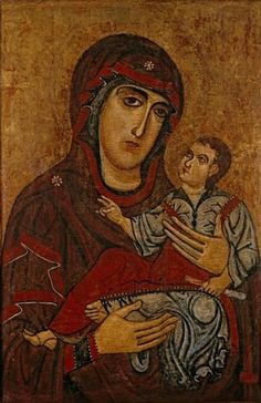 'Madonna and Child', tempera and gold on wood panel by a master of the School of Lucca, ca. 1200, El Paso Museum of Art - Pintura románica - Wikipedia, la enciclopedia libre