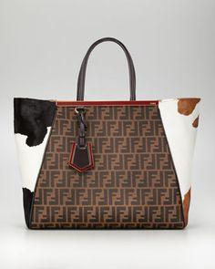 8101f24b8e09 Fendi 2Jours Zucca Calf-Hair Tote Bag