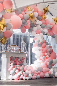 that's an amazing balloon decoration Balloon Display, Balloon Arch, Balloon Garland, Ballon Decorations, Birthday Decorations, Baby Shower Decorations, Festa Party, Baby Shower Princess, Baby Party