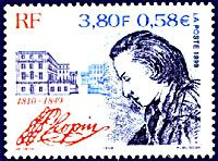 Chopin on a French postage stamp