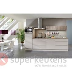 Southampton/Roma - Superkeukens; leuk detail: bovenkastjes in de kleur van het blad