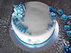 Dåpskake med ugle-tema  {Bakemagi.no} Birthday Cake, Desserts, Food, Tailgate Desserts, Deserts, Birthday Cakes, Essen, Postres, Meals